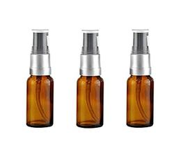 3PCS Empty Refillable Amber Glass Pump Press Bottles Jars Vi