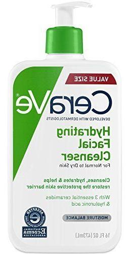 CeraVe Hydrating Facial Cleanser 16 oz for Daily Face Washin