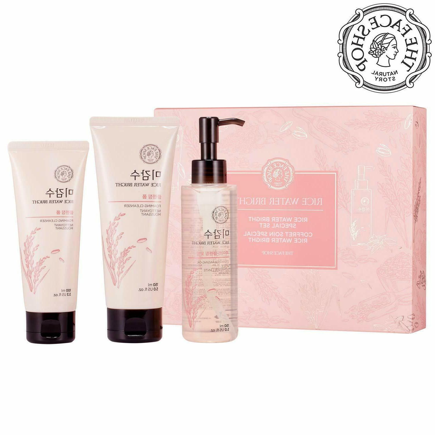 Rice Washes Water Bright Facial Cleanser Set - Foam 150mL +